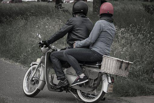 Scooter, Moped, Helmet, Man, Woman, Vehicle, Motor