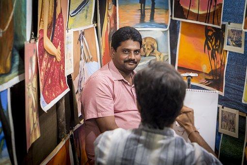 Painter, India, Market, Road, Goa, Indians