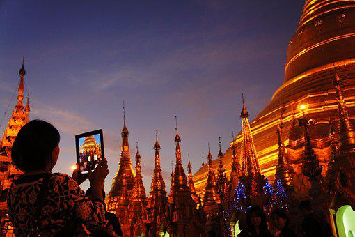 Shwedagon Pagoda, Golden, Ipad, Photograph, Pagoda