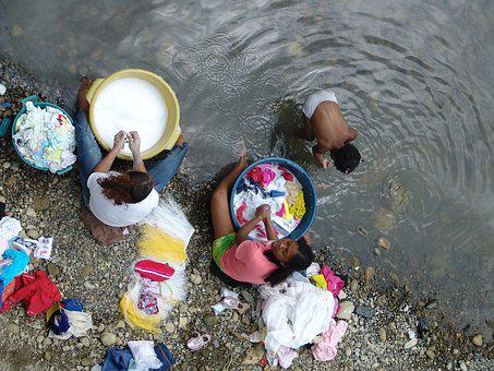 River, Washerwomen, Work, Poverty, Hand Washing
