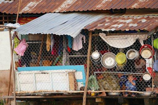 Vietnam, Asia, Can Tho, Hut, Poverty, Live, Pots, Bowl