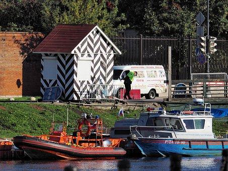 Guard, Boat, River, Rescue, Police, Traffic, Light, Van