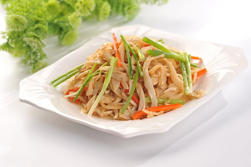 Fried Rice Noodles, Chives, Shredded Carrots, Gourmet