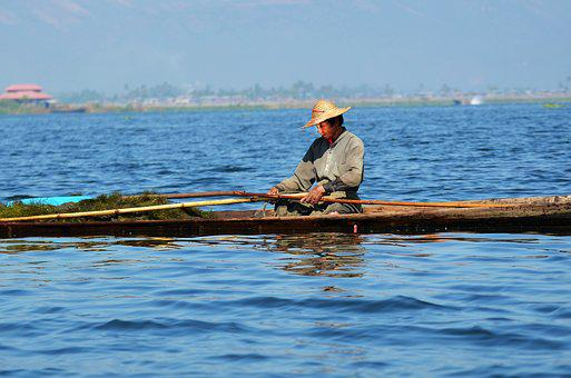 Fisherman, Single-leg-rowers, Inle Lake, Lake Inle