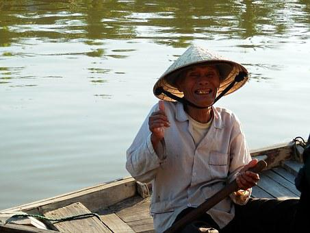 Smile, Fisherman, River, Native, Vietnam, Rowboat