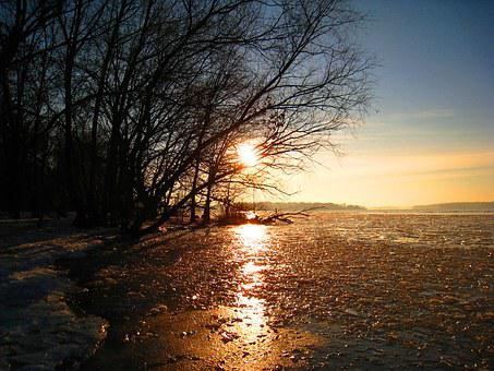 Winter, Frozen Lake, Ice, Sunset Winter, Ice Cover