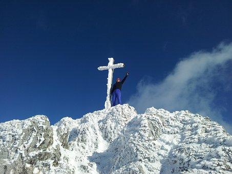 Winter, Top, Cross, Man, Mountains, Mountain, Snow