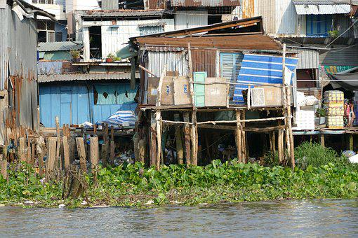 Vietnam, Asia, Can Tho, River, Hut, Poverty, Live, Pots