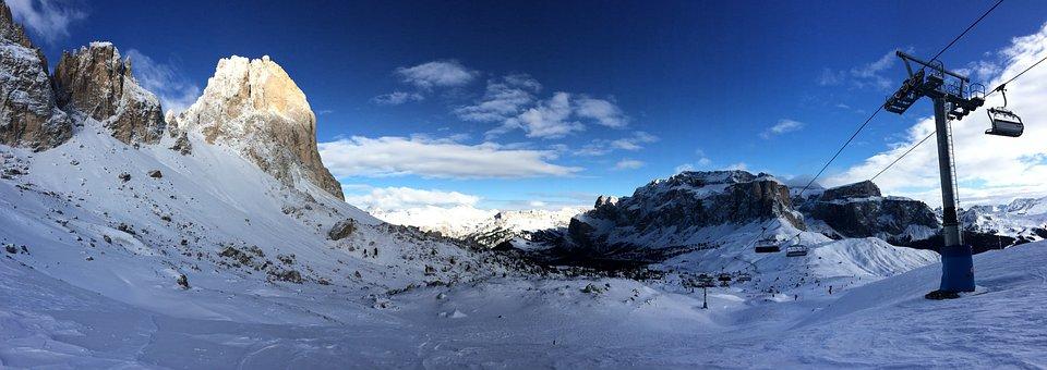 Dolomites, Panorama, Ski, Mountains, Nature, Winter