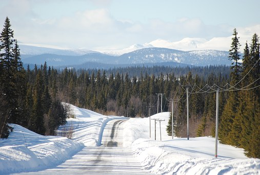Winter, Snow, Mountain, Swedish Mountains, Sweden, Road