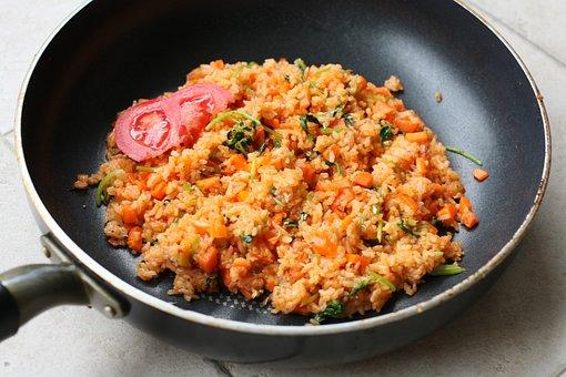Fried Rice, Tomato, Wok, Cooking, Rice