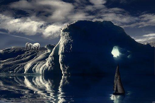 Iceberg, Polar Bear, Bear, Polar, Cold, Arctic, Nature