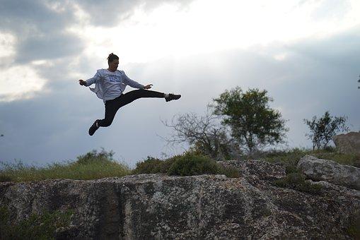Cyprus, Aya Napa, Man, Jump, Grass, Sport, Success