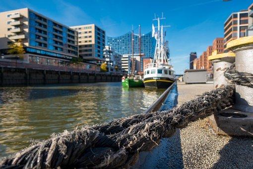 Hamburg, Ship Traffic Jams, Port, Ship, Rope, Fixing