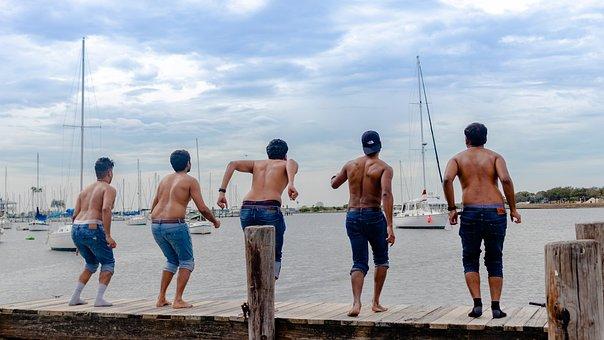 Friends, Jumping, Indians, Summer, Ocean, Holiday, Joy