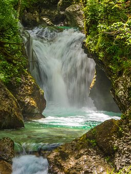 Waterfall, Slovenia, Nature, Water, Forest, Cascade