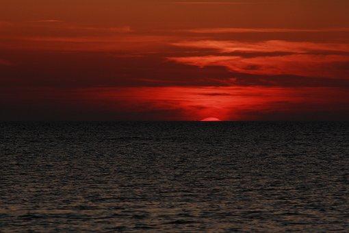 Sunset, Baltic Sea, Rügen, Sea, Crimson, Usedom, Beach