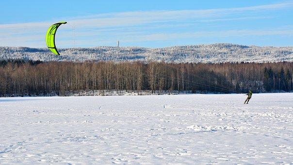 Snow-kite, Snow-kiting, Skiing, Kite, Nature, Snow