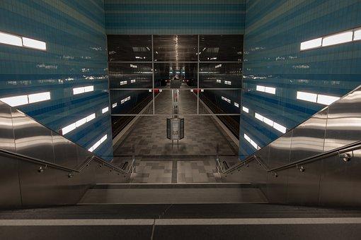 Metro, Hamburg, Architecture, Stop, Station