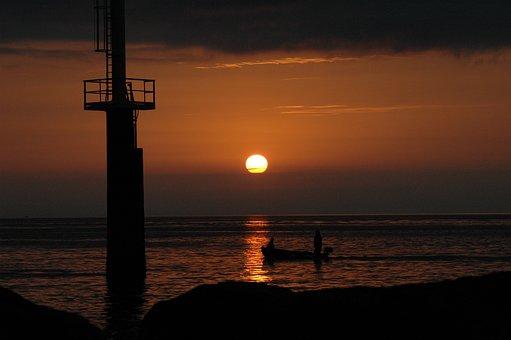 Sunset, Sunrise, Ocean, Sea, Beach, Nature, Landscape