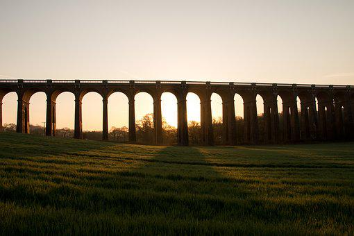 Viaduct, Historic, Building, Arches, Trainline, Trains