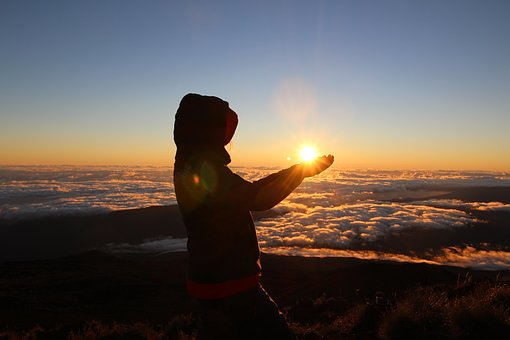 Sun, Dawn, Volcano, Woman, Excursion, Mountain, Reunion