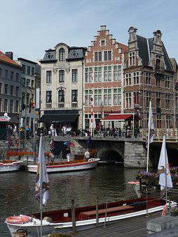 Gent, Kraanlei, Channel, Belgium, River, Middle Ages