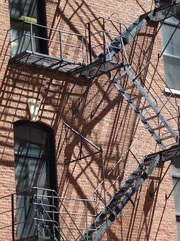 Facade, Staircase, Chicago, Architecture, Metal
