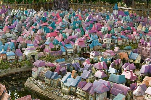 Town, Fairy, City, Fantasy, Sculpture, Model, Miniature