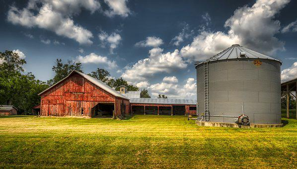 Landscape, Farm, Grain Bin, Sky, Clouds, Panorama