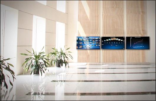 Hall, Tv, The Front Desk, Light, Office, Visualization