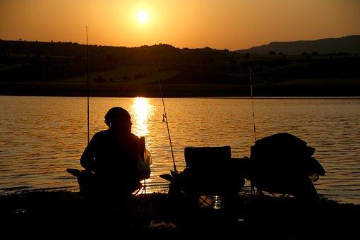 Sunset, Solar, Fishing Rod, Fish, Hunt, Human, Hunting