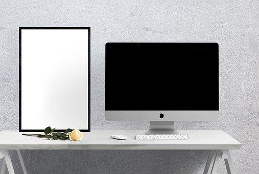 Poster, Frame, Imac, Computer, Table, Flower, Interior