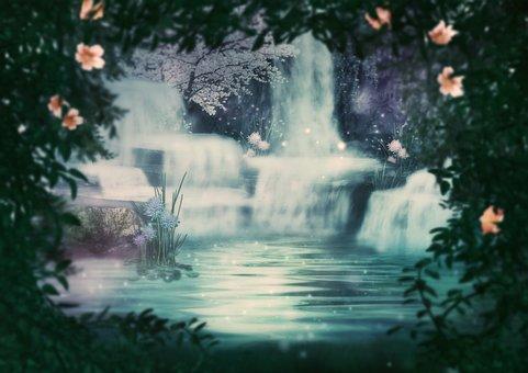 Waterfalls, Cascade, Jungle, Flowers, Fantasy, Rock