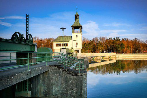 Waterworks, Barrage, Artificial, Kuhsee, Augsburg