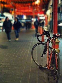 Bike, City, Night Life, Blur, Road, Human, Lifestyle