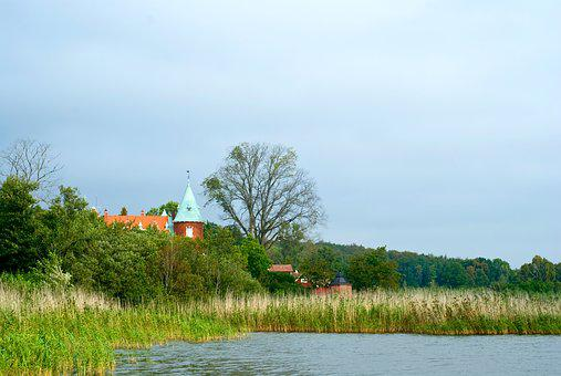Castle, Roof, Nature, Reed, Water, Lake, Tree, Tower