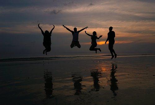 Beach, Sunset, Silhouette, People, Sea, Ocean, Water