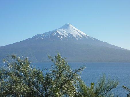Osorno, Volcano, Chile, South America, Summit, Lake