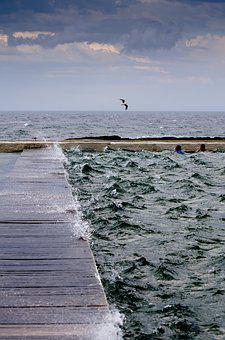 Platform, Baths, Choppy, Storm Seagull, Sky, Sea, Ocean