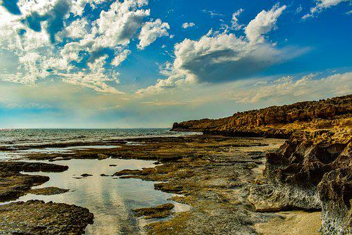 Rocky Coast, Sea, Nature, Landscape, Sky, Clouds