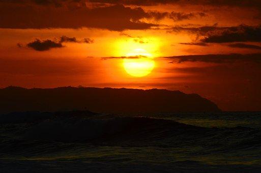 Kauai, Sunset, Sky, Island, Dusk, Pacific, Sea, Travel