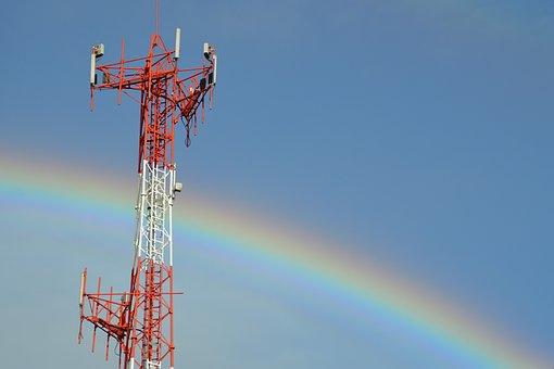 Rainbow, Rain, Sky, Time, Tower, Communications, Clouds