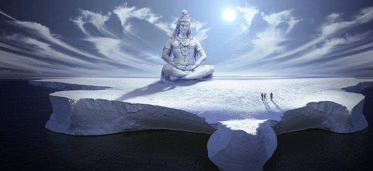 Fantasy, Ice, Snow, Arctic, Buddha, Statue, Human, Sky