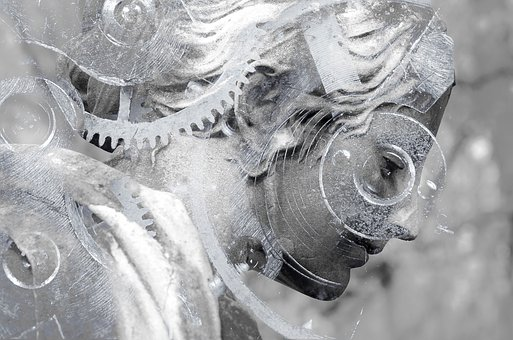 Steampunk, Statue, Woman, Female, Grey, Stone, Gears