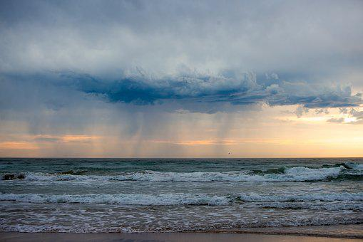 Rain, Storm, Clouds, Grey, Sunrise, Beach, Waves