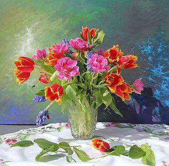 Bouquet, Tulips, Still Life, Vase, Colorful, Tablecloth