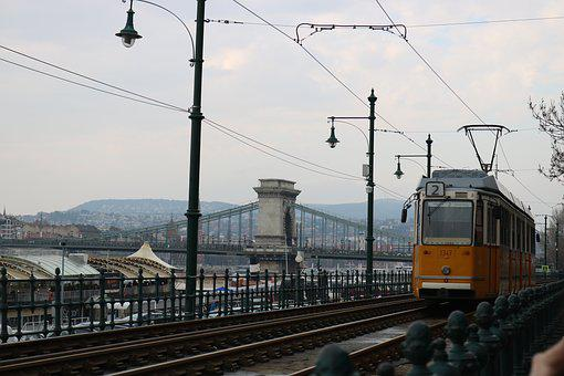 Tram, Hungary, Budapest, Chain Bridge, Rails, City