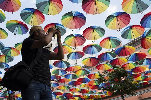 Rainbow, Sunshade, Travel, Perspective, Tourism, Colors