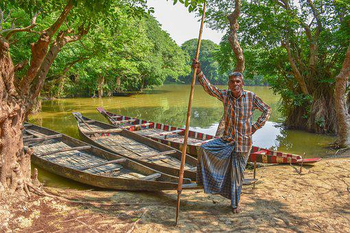 Boat, Boatman, Landscape, Water, River, Lake, Nature